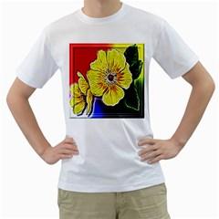 Beautiful Fractal Flower In 3d Glass Frame Men s T-Shirt (White)