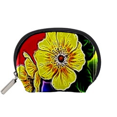 Beautiful Fractal Flower In 3d Glass Frame Accessory Pouches (Small)