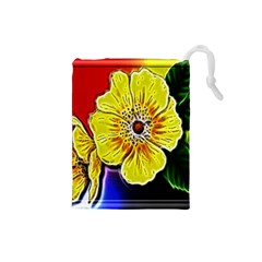 Beautiful Fractal Flower In 3d Glass Frame Drawstring Pouches (Small)