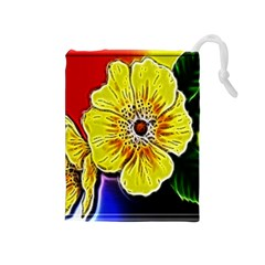 Beautiful Fractal Flower In 3d Glass Frame Drawstring Pouches (Medium)