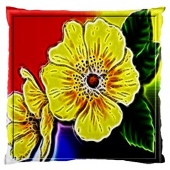 Beautiful Fractal Flower In 3d Glass Frame Large Flano Cushion Case (Two Sides)