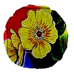 Beautiful Fractal Flower In 3d Glass Frame Large 18  Premium Flano Round Cushions