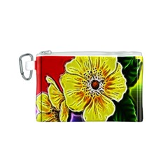 Beautiful Fractal Flower In 3d Glass Frame Canvas Cosmetic Bag (S)