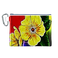 Beautiful Fractal Flower In 3d Glass Frame Canvas Cosmetic Bag (l)