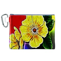 Beautiful Fractal Flower In 3d Glass Frame Canvas Cosmetic Bag (XL)