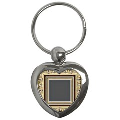 Fractal Classic Baroque Frame Key Chains (heart)