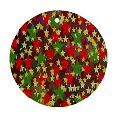 Star Abstract Multicoloured Stars Background Pattern Ornament (round)