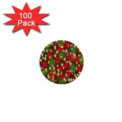 Star Abstract Multicoloured Stars Background Pattern 1  Mini Buttons (100 Pack)
