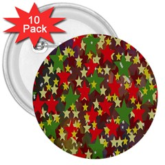 Star Abstract Multicoloured Stars Background Pattern 3  Buttons (10 pack)