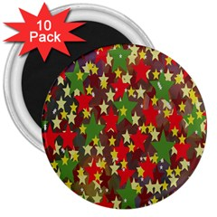 Star Abstract Multicoloured Stars Background Pattern 3  Magnets (10 pack)