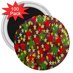 Star Abstract Multicoloured Stars Background Pattern 3  Magnets (100 pack)