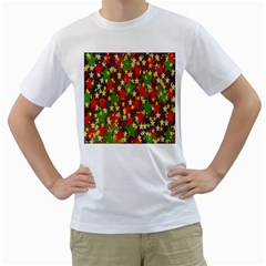 Star Abstract Multicoloured Stars Background Pattern Men s T Shirt (white) (two Sided)
