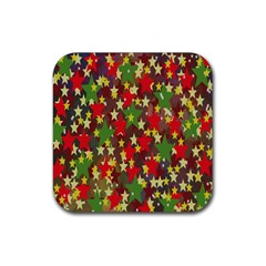 Star Abstract Multicoloured Stars Background Pattern Rubber Coaster (square)