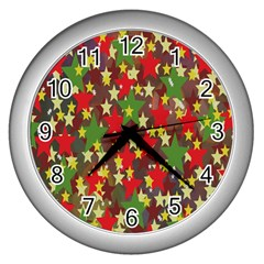 Star Abstract Multicoloured Stars Background Pattern Wall Clocks (Silver)