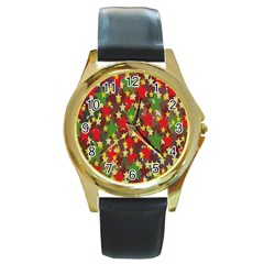 Star Abstract Multicoloured Stars Background Pattern Round Gold Metal Watch