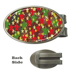 Star Abstract Multicoloured Stars Background Pattern Money Clips (Oval)