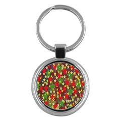 Star Abstract Multicoloured Stars Background Pattern Key Chains (round)