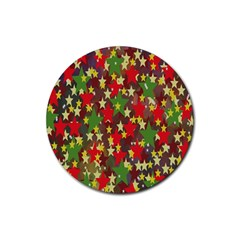 Star Abstract Multicoloured Stars Background Pattern Rubber Coaster (round)