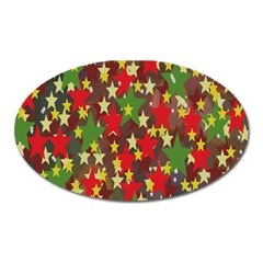 Star Abstract Multicoloured Stars Background Pattern Oval Magnet