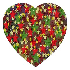 Star Abstract Multicoloured Stars Background Pattern Jigsaw Puzzle (Heart)