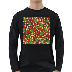 Star Abstract Multicoloured Stars Background Pattern Long Sleeve Dark T Shirts