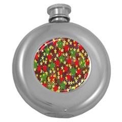 Star Abstract Multicoloured Stars Background Pattern Round Hip Flask (5 oz)