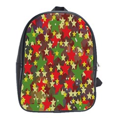 Star Abstract Multicoloured Stars Background Pattern School Bags(Large)