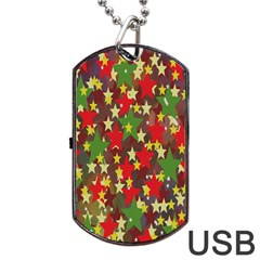 Star Abstract Multicoloured Stars Background Pattern Dog Tag Usb Flash (two Sides)