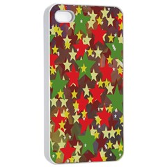 Star Abstract Multicoloured Stars Background Pattern Apple iPhone 4/4s Seamless Case (White)