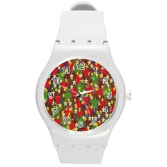 Star Abstract Multicoloured Stars Background Pattern Round Plastic Sport Watch (M)