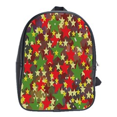 Star Abstract Multicoloured Stars Background Pattern School Bags (XL)