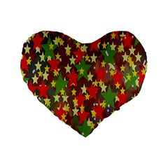 Star Abstract Multicoloured Stars Background Pattern Standard 16  Premium Heart Shape Cushions