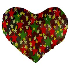 Star Abstract Multicoloured Stars Background Pattern Large 19  Premium Heart Shape Cushions