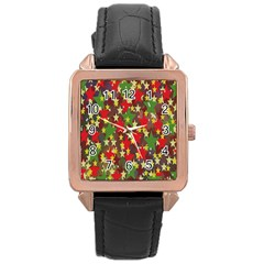 Star Abstract Multicoloured Stars Background Pattern Rose Gold Leather Watch