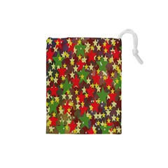 Star Abstract Multicoloured Stars Background Pattern Drawstring Pouches (small)