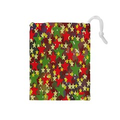 Star Abstract Multicoloured Stars Background Pattern Drawstring Pouches (Medium)