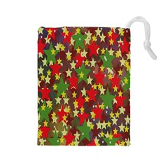 Star Abstract Multicoloured Stars Background Pattern Drawstring Pouches (Large)