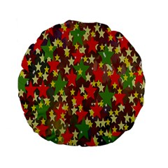 Star Abstract Multicoloured Stars Background Pattern Standard 15  Premium Flano Round Cushions