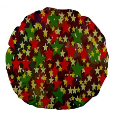 Star Abstract Multicoloured Stars Background Pattern Large 18  Premium Flano Round Cushions