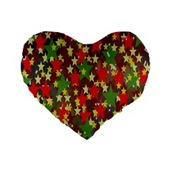 Star Abstract Multicoloured Stars Background Pattern Standard 16  Premium Flano Heart Shape Cushions