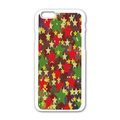 Star Abstract Multicoloured Stars Background Pattern Apple iPhone 6/6S White Enamel Case