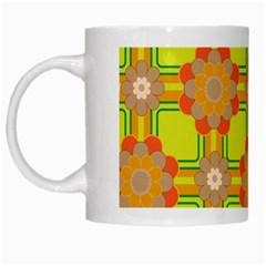 Floral Pattern Wallpaper Background Beautiful Colorful White Mugs