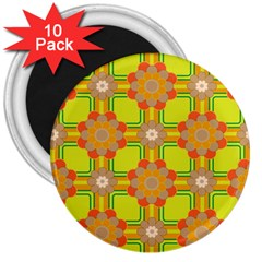 Floral Pattern Wallpaper Background Beautiful Colorful 3  Magnets (10 pack)