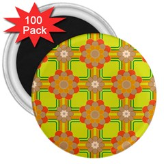 Floral Pattern Wallpaper Background Beautiful Colorful 3  Magnets (100 pack)