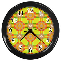 Floral Pattern Wallpaper Background Beautiful Colorful Wall Clocks (black)