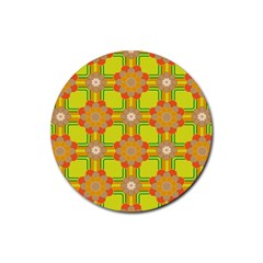 Floral Pattern Wallpaper Background Beautiful Colorful Rubber Round Coaster (4 pack)