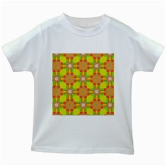 Floral Pattern Wallpaper Background Beautiful Colorful Kids White T-Shirts