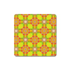Floral Pattern Wallpaper Background Beautiful Colorful Square Magnet