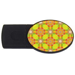 Floral Pattern Wallpaper Background Beautiful Colorful USB Flash Drive Oval (2 GB)