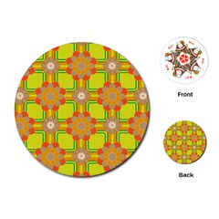 Floral Pattern Wallpaper Background Beautiful Colorful Playing Cards (round)